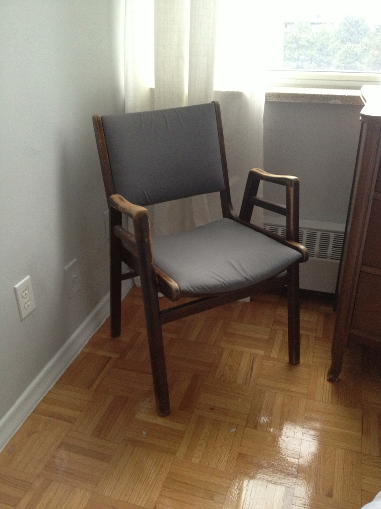 Dressing Chair with Grey Fabric