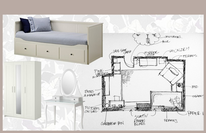 Stylish Teen Girl Room - Floor Plan